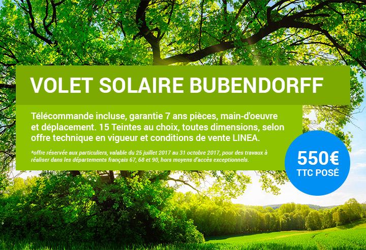 Offre volet solaire Bubendorff